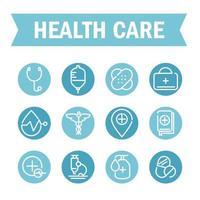 hälsovård ikonuppsättning
