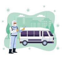 Biosicherheitsarbeiter desinfiziert den Lieferwagen auf covid19