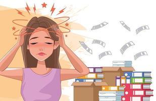 Frau mit Kopfschmerzstresssymptom und Dokumentenstapel