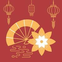 asiatisk komposition med blomma, fläkt och lyktor