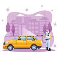 Biosicherheitsarbeiter desinfiziert Taxi für covid19