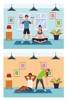 människor som tränar i huset