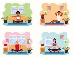 människor som tränar yoga i huset vektor