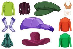 uppsättning modekläder och accessoarer vektor
