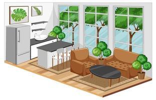 matsalinredning med möbler i modern stil