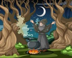 trollkarl med svart trollkruka vektor