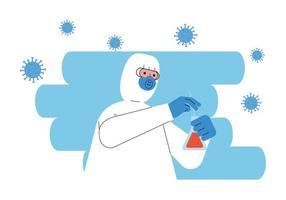 Arzt trägt Biohazard-Anzug mit Kolbentest vektor
