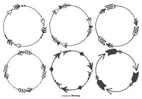 Hand Drawn Arrow ramar Collection vektor