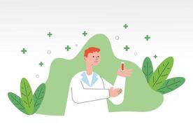männlicher Arzt mit Blut im Röhrentest vektor
