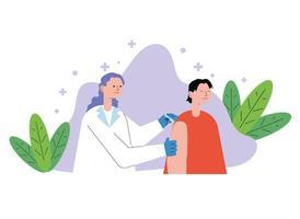 Ärztin mit Patientin, die den Impfstoff injiziert vektor