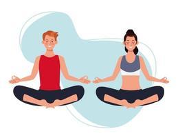 par som övar yogatatarer vektor