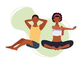 par som övar yoga, karaktärer av avatarer vektor