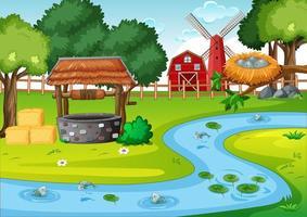 ladugård och väderkvarn i gårdsplats. vektor