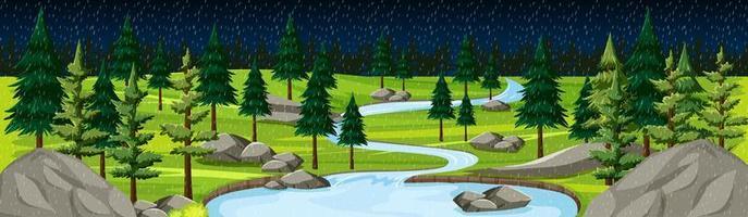 Naturpark mit Flusslandschaftspanorama bei Nachtszene vektor