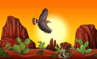Wüste mit Felsenbergen und Wüstentieren