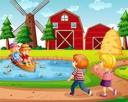 vier Kinder auf dem Bauernhof mit roter Scheune und Windmühlenszene vektor