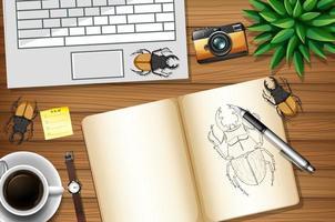 ovanifrån kontor skrivbord