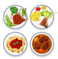 Luftaufnahme von Lebensmitteln auf Teller gesetzt