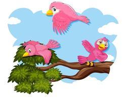 glücklicher Vogel, der in der Natur fliegt