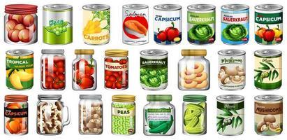 uppsättning olika konserver och mat vektor