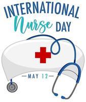 Internationales Krankenschwestertagsbanner mit Krankenschwestermütze vektor