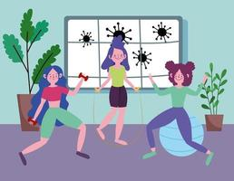 junge Frauen, die zu Hause trainieren vektor