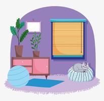 süßes Zimmer Interieur mit Katze vektor