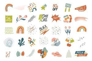 große Menge von trendigen abstrakten Verkaufssymbolen vektor