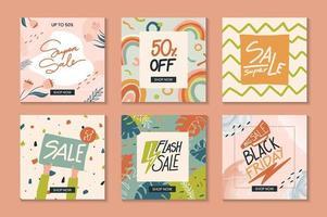 samling av trendiga abstrakta fyrkantiga försäljningsmallar