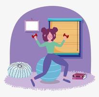 ung kvinna som tränar inomhus