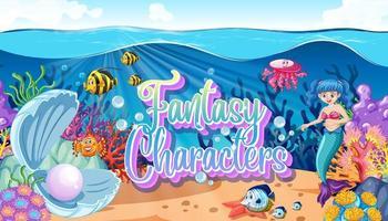 Fantasy-Charaktere Logo mit Meerjungfrauen