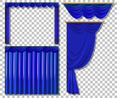 verschiedene Designs von blauen Vorhängen gesetzt