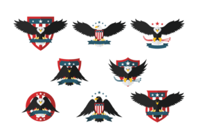 Eagle-Seal flache Ikonen vektor