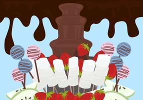 Schokoladen-Brunnen Hintergrund Vektor