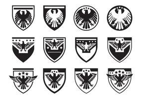 Schwarzes Eagle-Siegel-Symbol Vektor-Set vektor