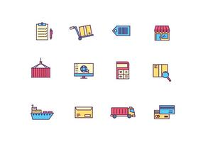 Logistik och leverans ikoner vektor