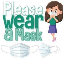 snälla bära mask skylt banner vektor