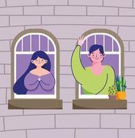 människor som tittar ut genom fönstret i karantän
