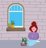 flicka med krukväxter hemma vektor