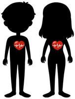 människor med rött hjärtsymbol