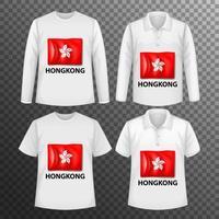 uppsättning manliga skjortor med Hong Kong-flaggan