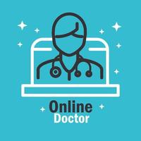 online läkarbanner med piktogram