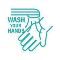 Waschen Sie Ihre Hände Piktogramm mit Nachricht