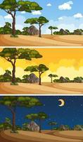 Naturlandschaftsszenen zu verschiedenen Tageszeiten vektor