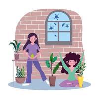 kvinnor som tar hand om inomhusplantor i karantän vektor