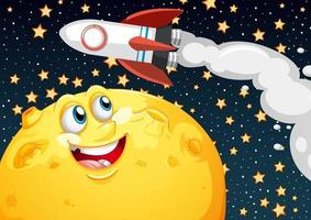 Mond mit glücklichem Gesicht und Rakete auf Weltraumgalaxie