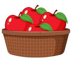 röda äpplen i korgen isolerad