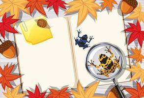 leere Buchseite mit Blättern und Fröschen