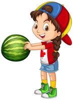 kanadensisk flicka som bär mössa som rymmer en vattenmelon vektor