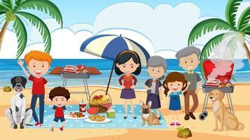 Picknickszene mit der Familie am Strand vektor